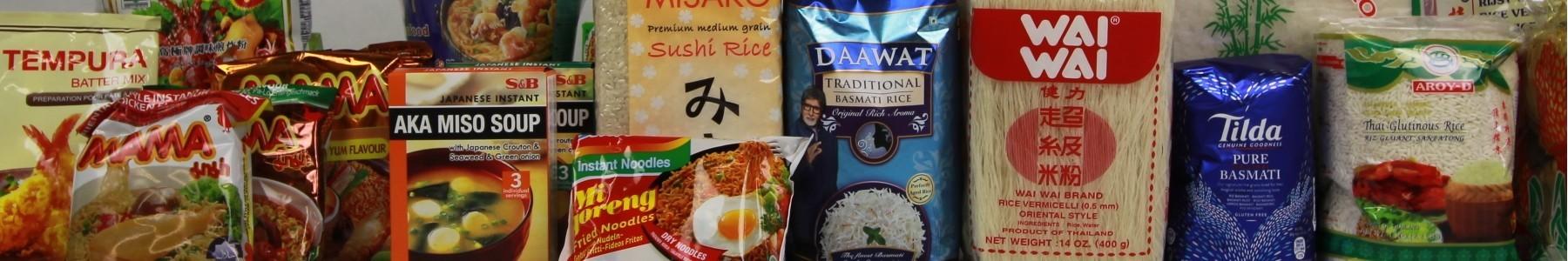 Rice, noodles, flour, beans, nuts