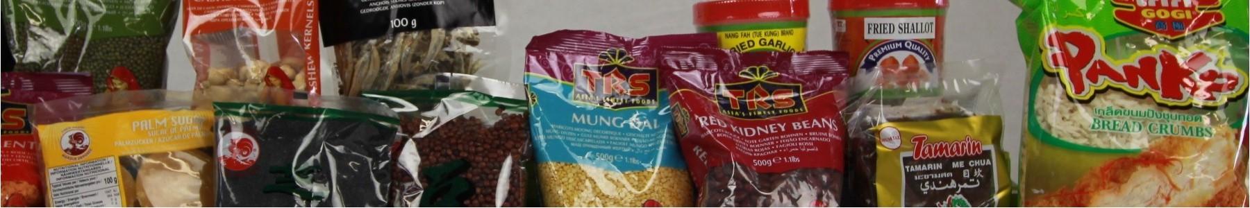 veelheid aan gedroogde voedingsproducten exotisch oosters aziatisch